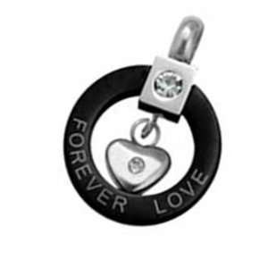 Stainless Steel Two Tone Black Round Pendant with Heart