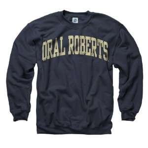 Oral Roberts Golden Eagles Navy Arch Crewneck Sweatshirt Sports