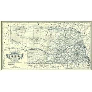 NEBRASKA (NE) RAILWAY BY W.W. ALT MAP 1889: Home & Kitchen