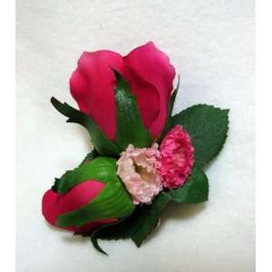 NEW Bright Pink Rose Bud Flower Hair Barrette, Limited