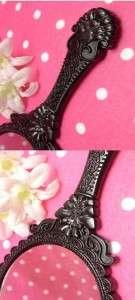 Anna Sui Style Vintage Shabby Black Hand Held Large Mirror Vanity