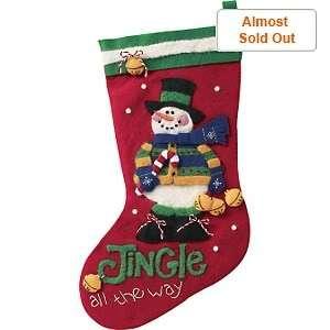 JINGLE Snowman Needle Felting Stocking Kit Dimensions