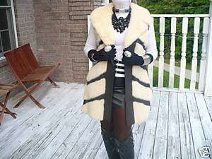 Mint Unique Cream white Mink Fur Vest coat bolero S M