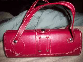 Red purse NEW Leather small bag clutch silver grommets unique stylish