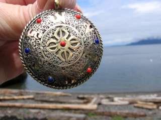 UNISEX BRASS OM SYMBOL/DOUBLE DORJE TIBETAN BUDDHIST PENDANT/BLACK