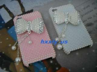Apple Iphone 4 4G Pearl Bow Crystal BLING Hard case PIK