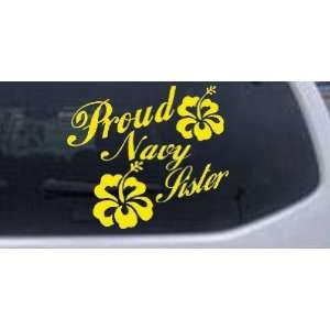 Yellow 10in X 11.3in    Proud Navy Sister Hibiscus Flowers