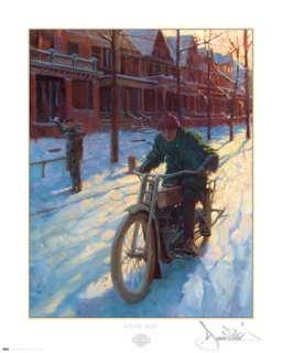 David Uhl Snow Day Harley Davidson poster