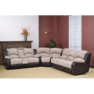 2 Tone Sectional Sofa 3PCs w/ Double Reclining Sofa