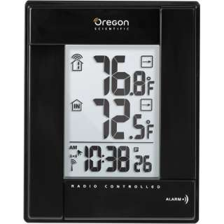 atomic clock Large LCD displays temperature trends and min and