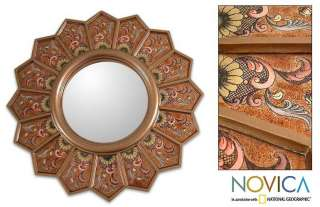 GOLD DAISIES~Reverse Painted Glass Wall Mirror~PERU Art