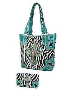 Western Black Turquoise Zebra Rhinestone Cross Handbag Purse Flat