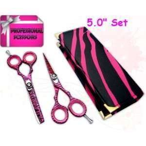dressing hair cutting thinning scissors shears 5.0 PINK ZEBRA + CASE