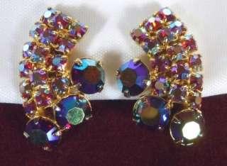 LARGE Vtg Dark PINK Aurora Borealis RHINESTONE Earrings CLIP Deep