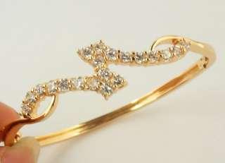 Princess White Topaz Gems 14k TReal Rose Gold Filled Bangle