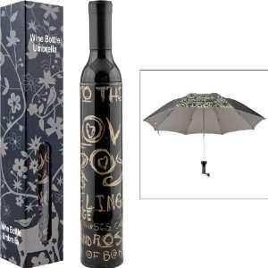 NEW Trademark HomeT Wine Bottle Umbrella   Black & Gold (New Products