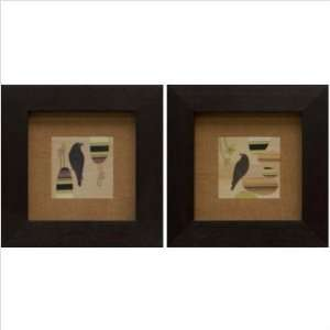Phoenix Galleries BGR1149 Birds on Wood Framed Print Set