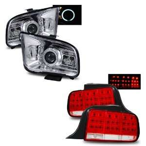 05 09 Ford Mustang Chrome CCFL Halo Projector Headlights