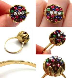 VINTAGE GREEN EMERALD RED RUBY BLUE SAPPHIRE 18K SOLID GOLD FLOWER