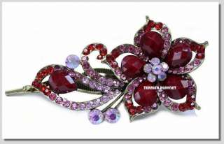 TPS Fashion Red & Pink Flower Crystal Hair Pin Clip K16