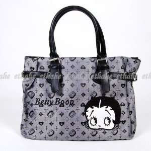 Betty Boop Large Handbag Tote Shopping Bag Gray: Beauty