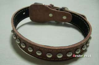 Pet Dog Studs Leather Spiked Tough Collar S M L size