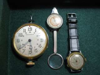 1925 WALTHAM ILLUMINATED 24HR MILITARY 8 DAY CLOCK+TARA SPORT CHRONO