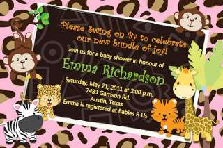 20 PHOTO JUNGLE Mod MONKEY Baby Shower Invitations Invites ZOO
