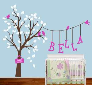 Tree Birds Words Fit Baby Room Nature Vinyl Wall Paper Decal Art