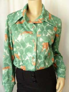 Green LEOPARD Print LUCY Secretary Blouse Top 16 M Andrea Gayle