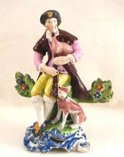 Antique Staffordshire Figurine Man w/bagpipes & Dog