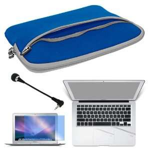 Screen Protector + Laptop Glove Case BLUE + Mini 3.5mm Flexible