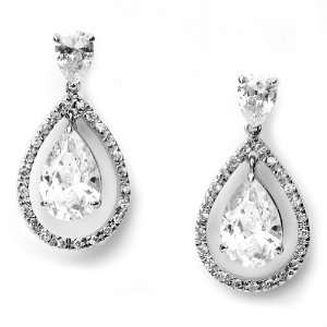 , Modern Tear Drop Cubic Zirconia Rhinestone Wedding Earring 1289