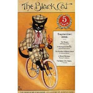 THE BLACK CAT RIDING BIKE BICYCLE 1896 BOSTON MAGAZINE COVER VINTAGE