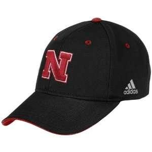 adidas Nebraska Cornhuskers Black Large Logo Structured