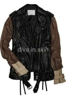THREE COLORED LAMBSKIN LEATHER MOTORCYCLE BIKER JACKET COAT WINTER
