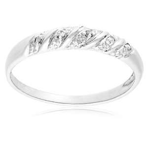 10k White Gold Diamond Ring (.03 cttw, I J Color, I3 Clarity), Size 5
