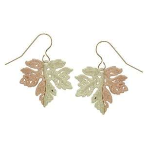 Black Hills Gold Rose and Green Leaf 10K Gold Earrings