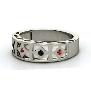 Queen of Diamonds Ring, Sterling Silver Ring with Red Garnet & Black