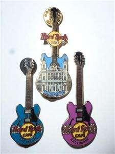 Hard Rock Cafe Souvenir Guitar Pins Baltimore, Madrid, Las Vegas