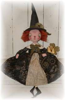 Primitive Folk Art Spring St Patricks Day witch doll PFATT ooak EHAG