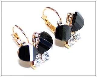 Fashion shinny Crystal Butterfly Rhinestone hoop stud earrings for