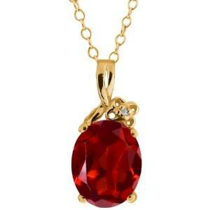 2.86 Ct Oval Red Garnet and White Topaz 10k Yellow Gold