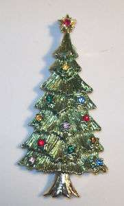 BJ Rhinestone Christmas Tree Pin Brooch Beatrix Jewels