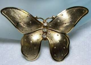 Large Vintage Textured Gold Tone Rhinestone Jeweled BUTTERFLY~Hair