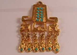 Vintage Salvador Teran Gold Tone Earrings & Pendant x 2