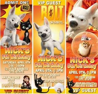 Disneys BOLT Birthday Party Invitations & Favor
