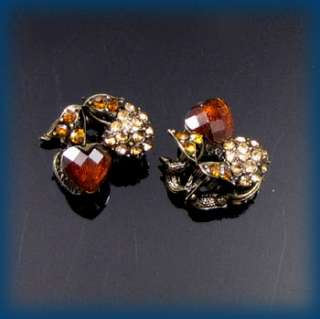 2pc rhinestone crystal antiqued cherry hair claw