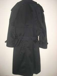 Mens RALPH LAUREN Long Black Rain Coat Trench Coat W Belt & Removable