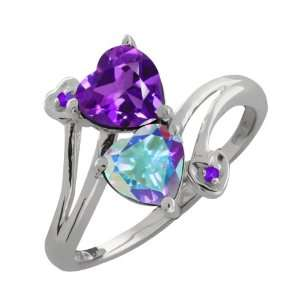 82 Ct Heart Shape Purple Amethyst and Mystic Topaz Sterling Silver